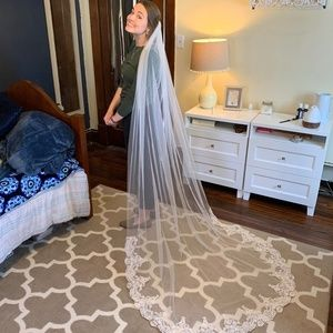 Lace Chapel Length Wedding Veil